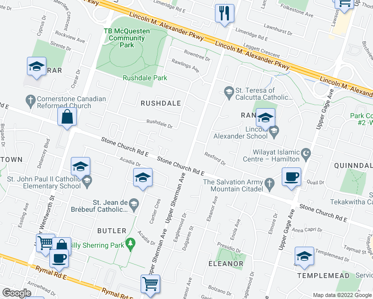 map of restaurants, bars, coffee shops, grocery stores, and more near 1354 Upper Sherman Avenue in Hamilton