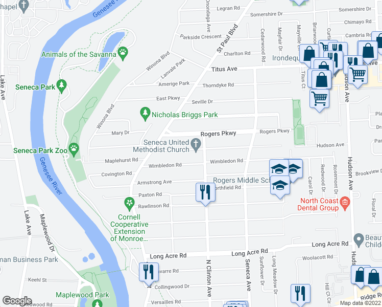 map of restaurants, bars, coffee shops, grocery stores, and more near 113 Scholfield Road in Rochester
