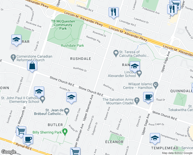 map of restaurants, bars, coffee shops, grocery stores, and more near 1336 Upper Sherman Avenue in Hamilton