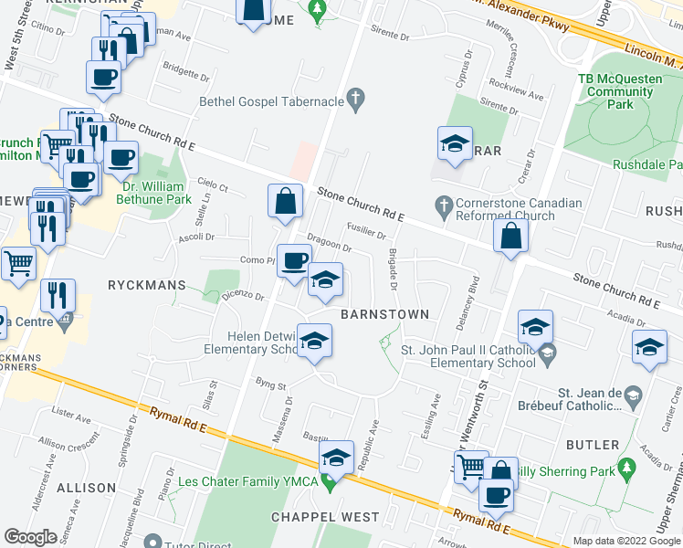 map of restaurants, bars, coffee shops, grocery stores, and more near 59 Fusilier Drive in Hamilton