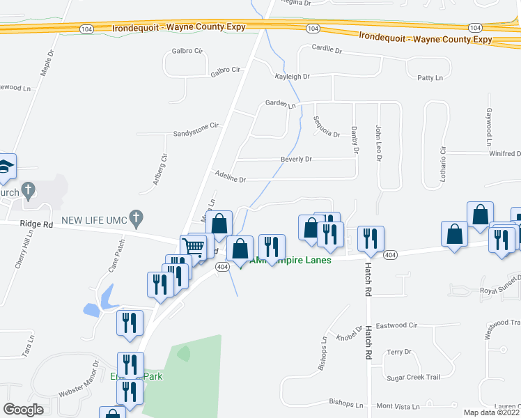 map of restaurants, bars, coffee shops, grocery stores, and more near Preservation Trail in Webster