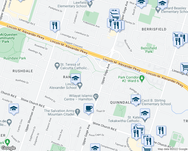 map of restaurants, bars, coffee shops, grocery stores, and more near 4 Rexford Drive in Hamilton
