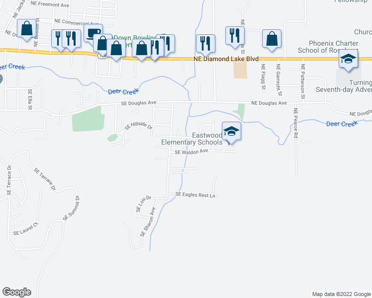 map of restaurants, bars, coffee shops, grocery stores, and more near 2360 Southeast Waldon Avenue in Roseburg