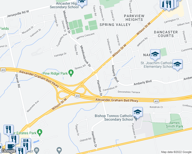 map of restaurants, bars, coffee shops, grocery stores, and more near 286 Hamilton Drive in Hamilton