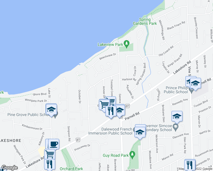 map of restaurants, bars, coffee shops, grocery stores, and more near 31 Ameer Drive in St. Catharines