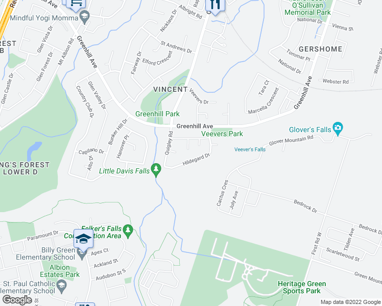 map of restaurants, bars, coffee shops, grocery stores, and more near 31 Hildegard Drive in Hamilton