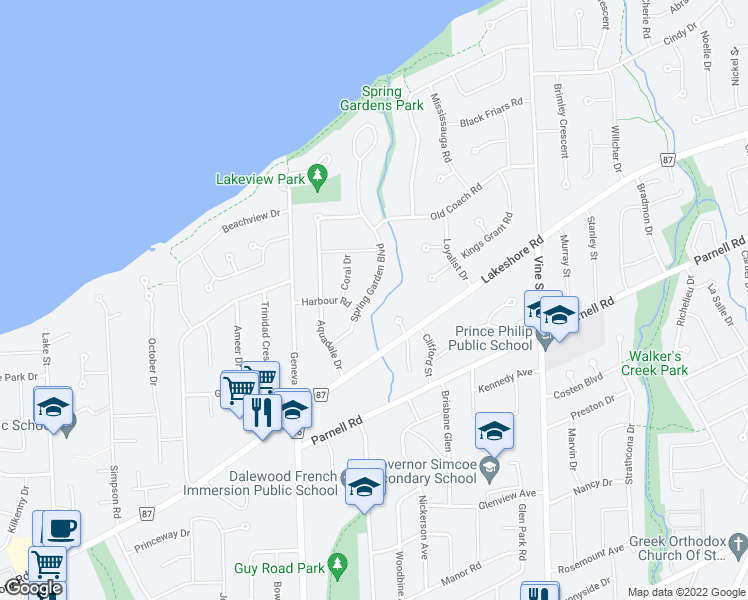 map of restaurants, bars, coffee shops, grocery stores, and more near 18 Spring Garden Boulevard in St. Catharines