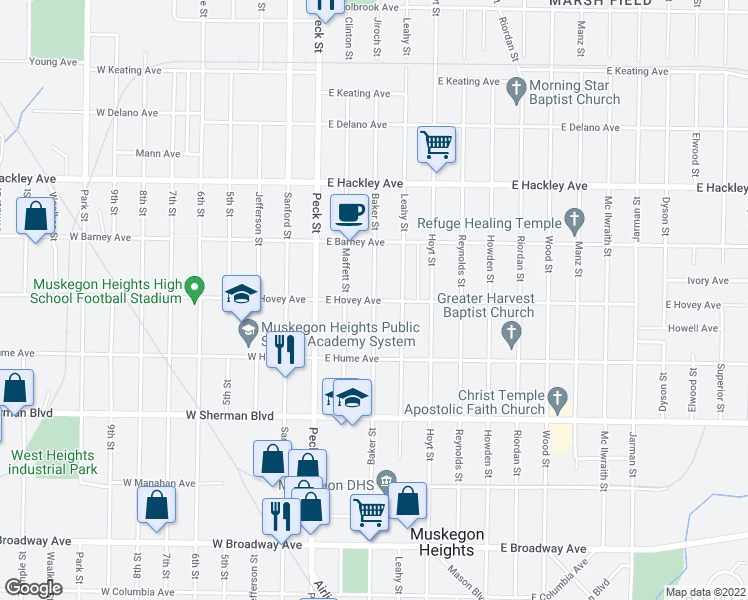 map of restaurants, bars, coffee shops, grocery stores, and more near Baker Street in Muskegon