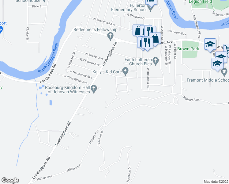 map of restaurants, bars, coffee shops, grocery stores, and more near 1092 Harris Hills Drive in Roseburg