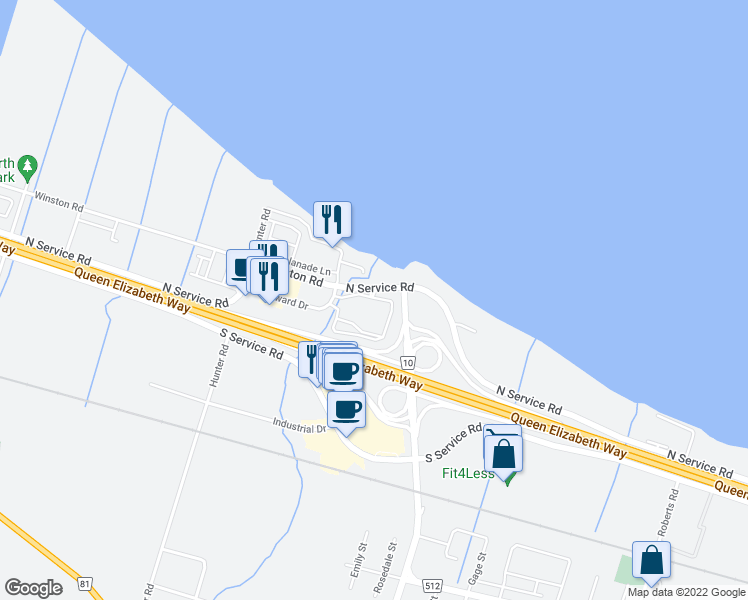 map of restaurants, bars, coffee shops, grocery stores, and more near 10 Concord Place in Grimsby