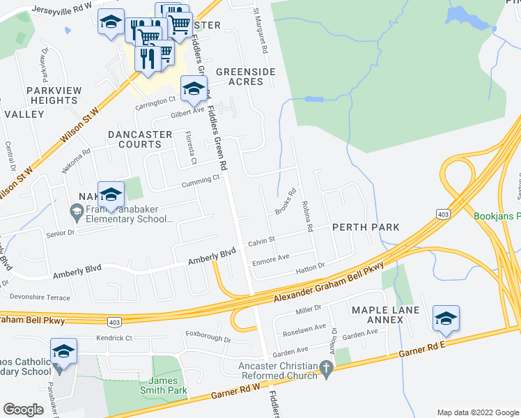 map of restaurants, bars, coffee shops, grocery stores, and more near 312 Mapledene Drive in Hamilton