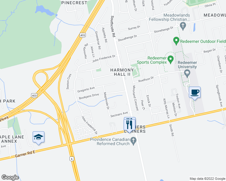 map of restaurants, bars, coffee shops, grocery stores, and more near 16 Gregorio Court in Hamilton