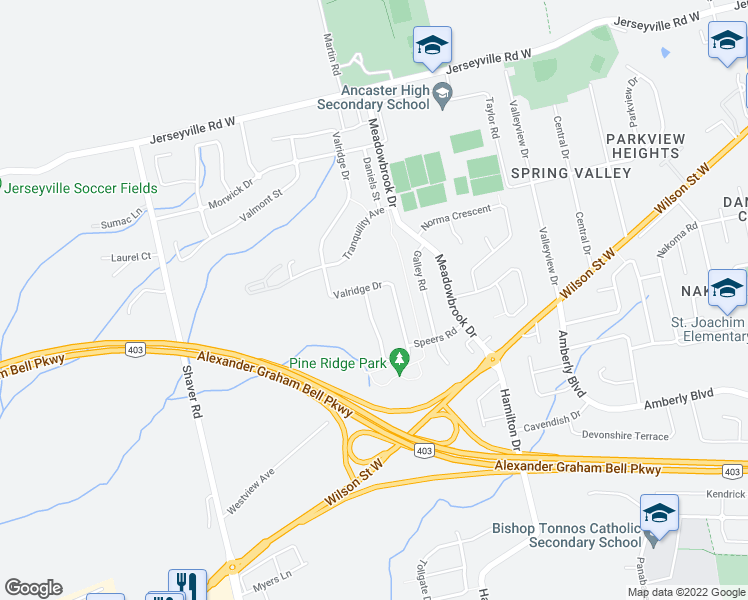 map of restaurants, bars, coffee shops, grocery stores, and more near 536 Valridge Drive in Hamilton