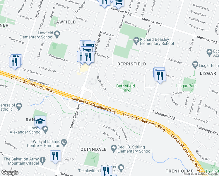 map of restaurants, bars, coffee shops, grocery stores, and more near 103 Birchcliffe Crescent in Hamilton