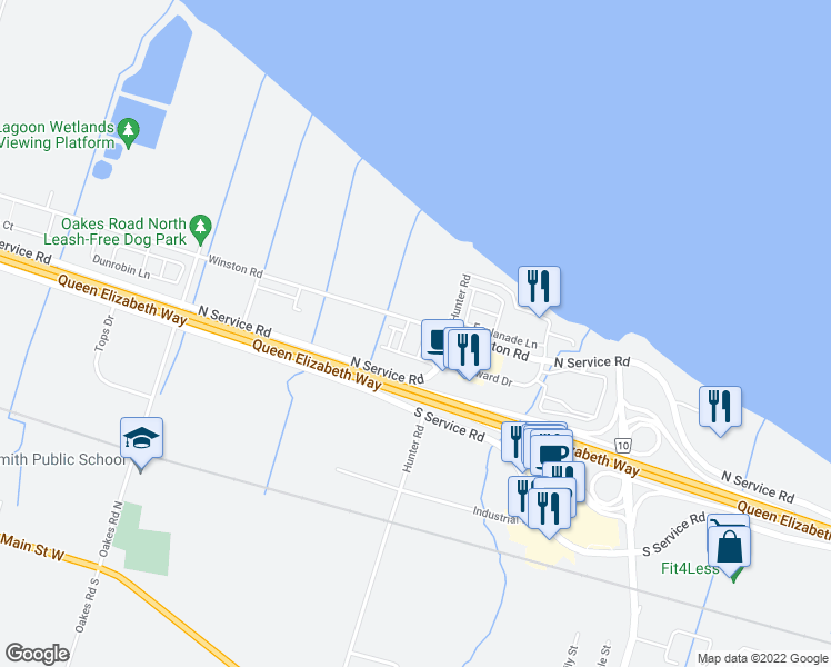 map of restaurants, bars, coffee shops, grocery stores, and more near 515 Winston Road in Grimsby