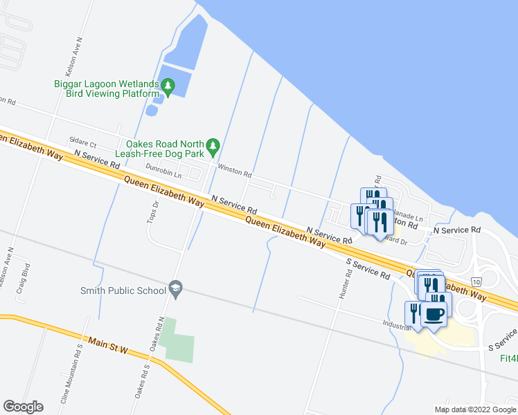 map of restaurants, bars, coffee shops, grocery stores, and more near Queen Elizabeth Way in Grimsby
