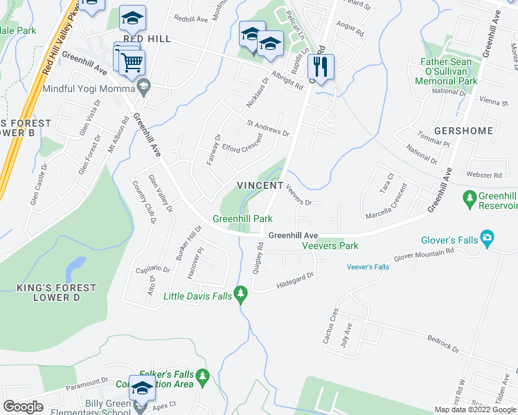 map of restaurants, bars, coffee shops, grocery stores, and more near 350 Quigley Road in Hamilton