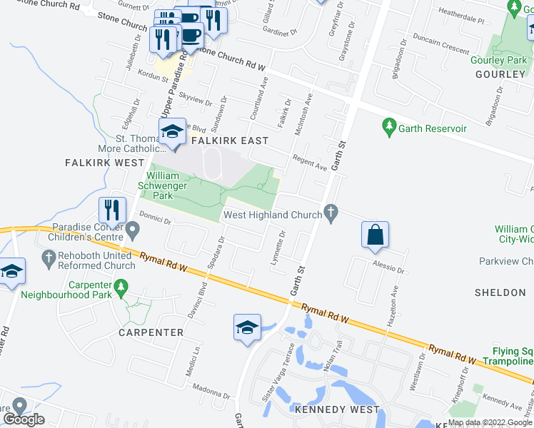 map of restaurants, bars, coffee shops, grocery stores, and more near 7 Benvenuto Crescent in Hamilton