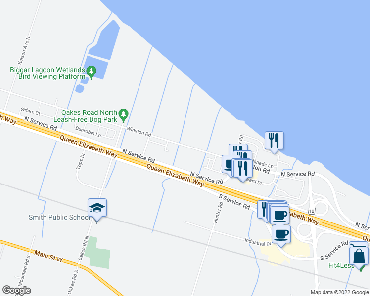 map of restaurants, bars, coffee shops, grocery stores, and more near 541 Winston Road in Grimsby