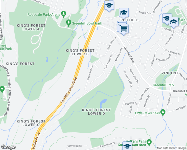 map of restaurants, bars, coffee shops, grocery stores, and more near 10 Glendora Court in Hamilton