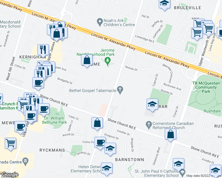 map of restaurants, bars, coffee shops, grocery stores, and more near 1364 Upper Wellington Street in Hamilton