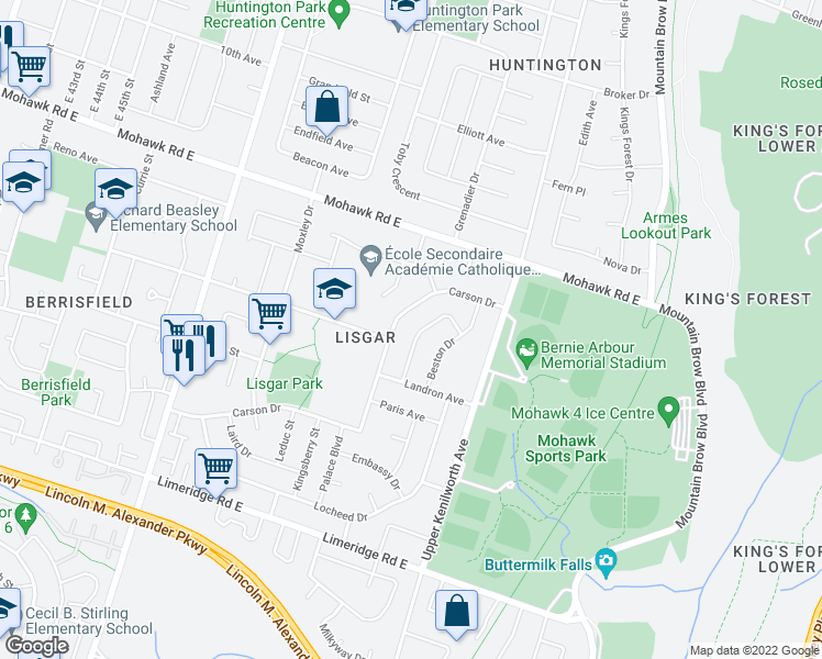 map of restaurants, bars, coffee shops, grocery stores, and more near 62 Markson Crescent in Hamilton