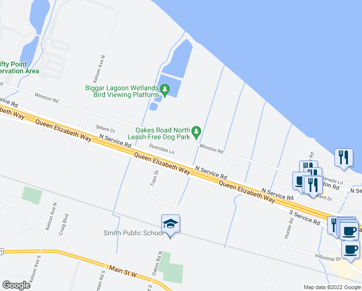 map of restaurants, bars, coffee shops, grocery stores, and more near Beau Chatel Lane in Grimsby