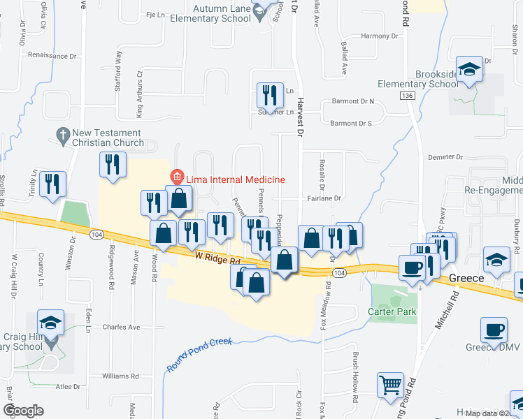 map of restaurants, bars, coffee shops, grocery stores, and more near 33 Pennels Drive in Rochester
