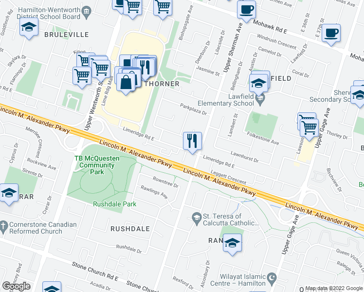 map of restaurants, bars, coffee shops, grocery stores, and more near 254 Parkwood Crescent in Hamilton