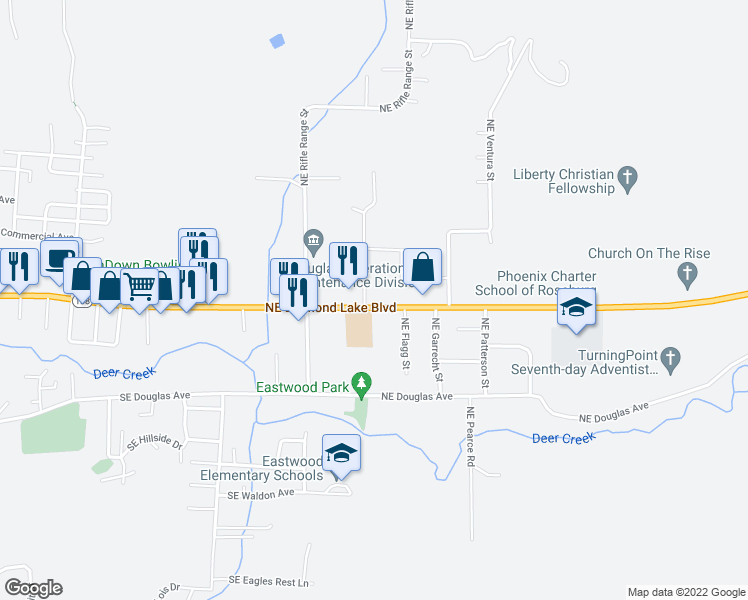 map of restaurants, bars, coffee shops, grocery stores, and more near 2726 Northeast Diamond Lake Boulevard in Roseburg