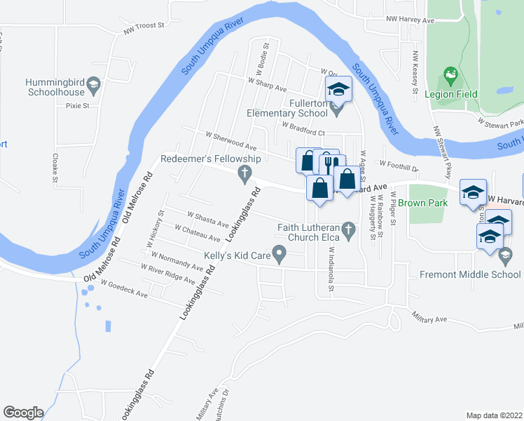 map of restaurants, bars, coffee shops, grocery stores, and more near 2946 West Jay Avenue in Roseburg