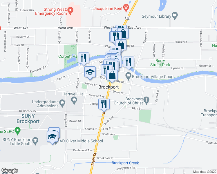 map of restaurants, bars, coffee shops, grocery stores, and more near in Brockport