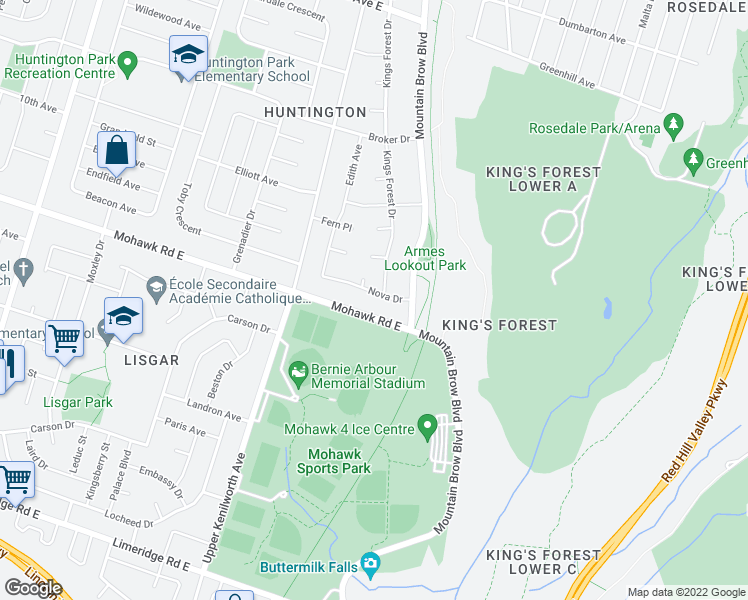 map of restaurants, bars, coffee shops, grocery stores, and more near 46 Nova Drive in Hamilton