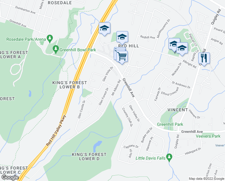 map of restaurants, bars, coffee shops, grocery stores, and more near 318 Mount Albion Road in Hamilton