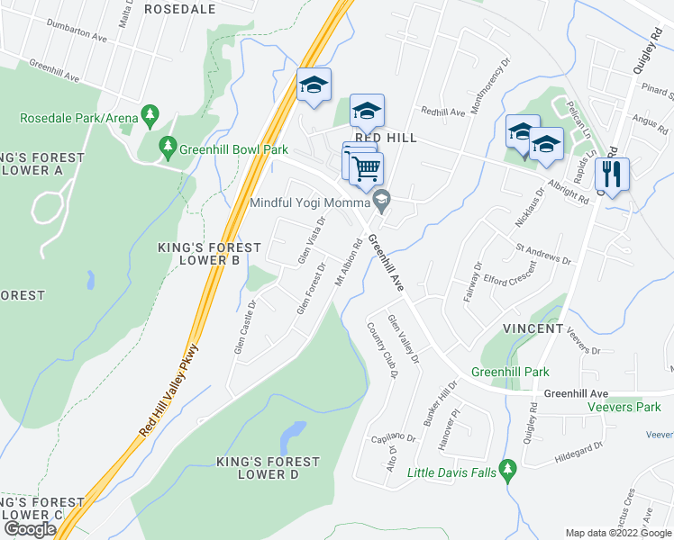 map of restaurants, bars, coffee shops, grocery stores, and more near 2 Mount Albion Road in Hamilton