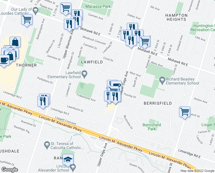 map of restaurants, bars, coffee shops, grocery stores, and more near 45 Edwina Place in Hamilton