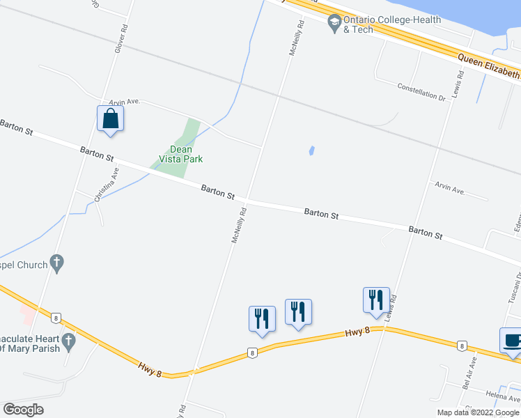 map of restaurants, bars, coffee shops, grocery stores, and more near 290-296 McNeilly Rd in Hamilton