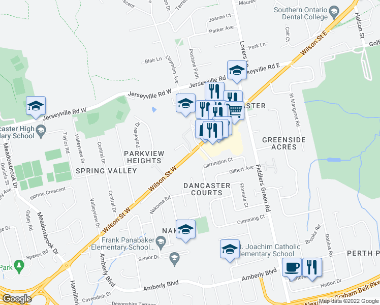 map of restaurants, bars, coffee shops, grocery stores, and more near 109 Wilson Street West in Hamilton