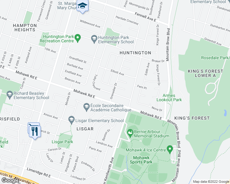 map of restaurants, bars, coffee shops, grocery stores, and more near 1043 Mohawk Road East in Hamilton