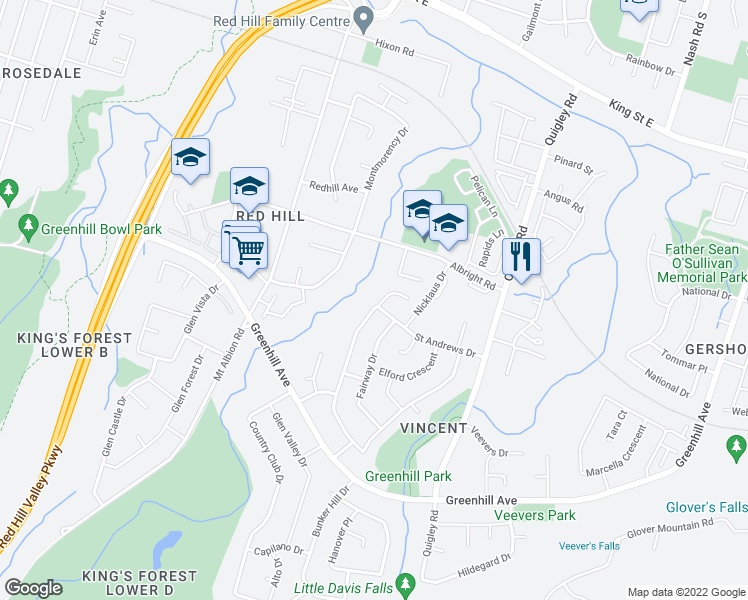 map of restaurants, bars, coffee shops, grocery stores, and more near 85 Albright Road in Hamilton