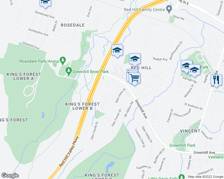 map of restaurants, bars, coffee shops, grocery stores, and more near 22 Renner Court in Hamilton