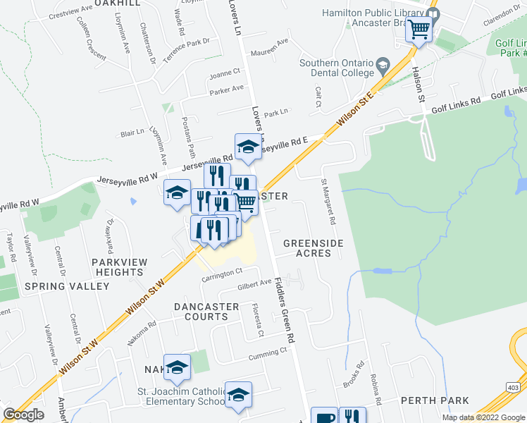map of restaurants, bars, coffee shops, grocery stores, and more near 88 Fiddlers Green Road in Hamilton