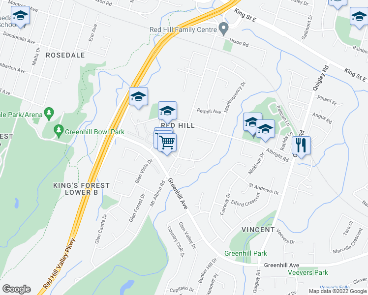map of restaurants, bars, coffee shops, grocery stores, and more near 215 Mount Albion Road in Hamilton