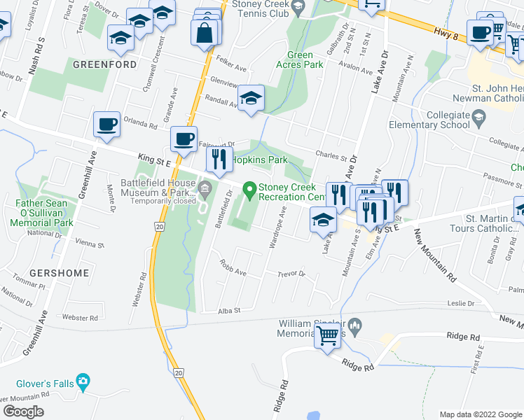 map of restaurants, bars, coffee shops, grocery stores, and more near 15 Walker Avenue in Hamilton