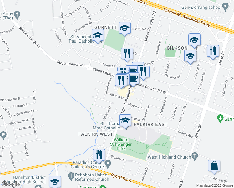 map of restaurants, bars, coffee shops, grocery stores, and more near 34 Kordun Street in Hamilton