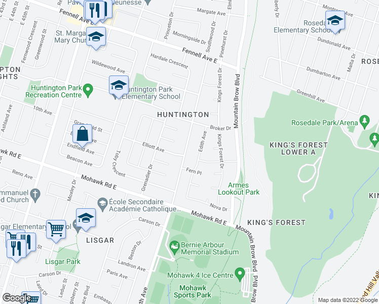 map of restaurants, bars, coffee shops, grocery stores, and more near 436 Upper Kenilworth Avenue in Hamilton