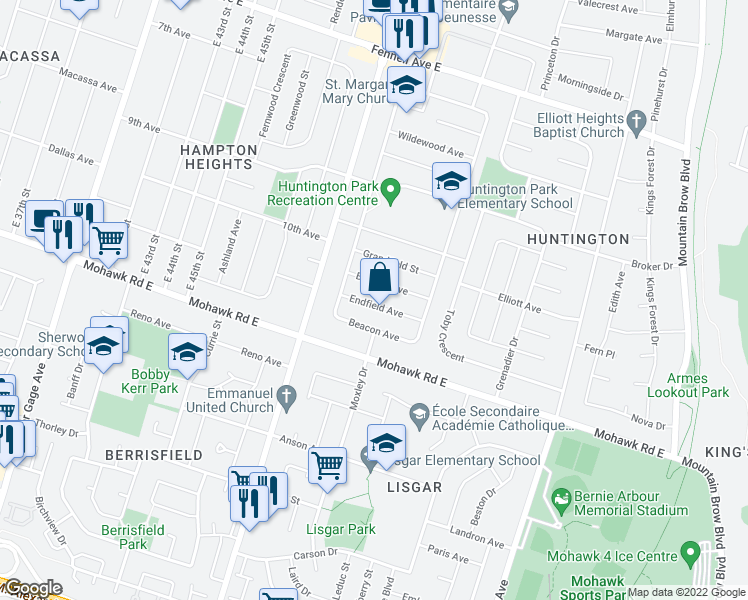 map of restaurants, bars, coffee shops, grocery stores, and more near 21 Endfield Avenue in Hamilton