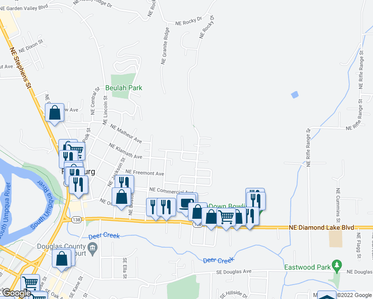 map of restaurants, bars, coffee shops, grocery stores, and more near 2028 Northeast Oswego Avenue in Roseburg