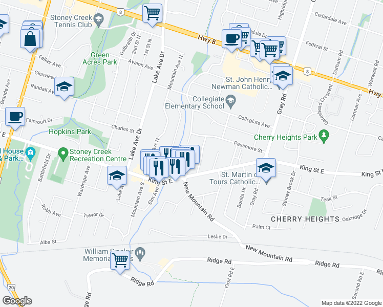 map of restaurants, bars, coffee shops, grocery stores, and more near 11 Applewood Avenue in Hamilton