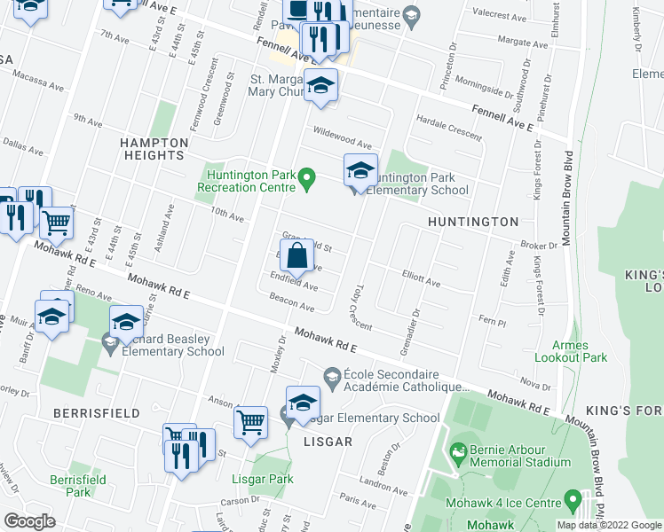 map of restaurants, bars, coffee shops, grocery stores, and more near 55 Burfield Avenue in Hamilton